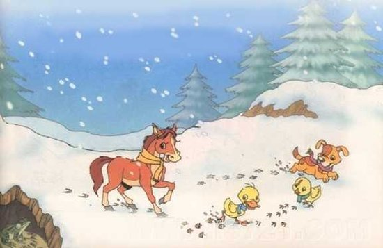 17 雪地里的小画家图片