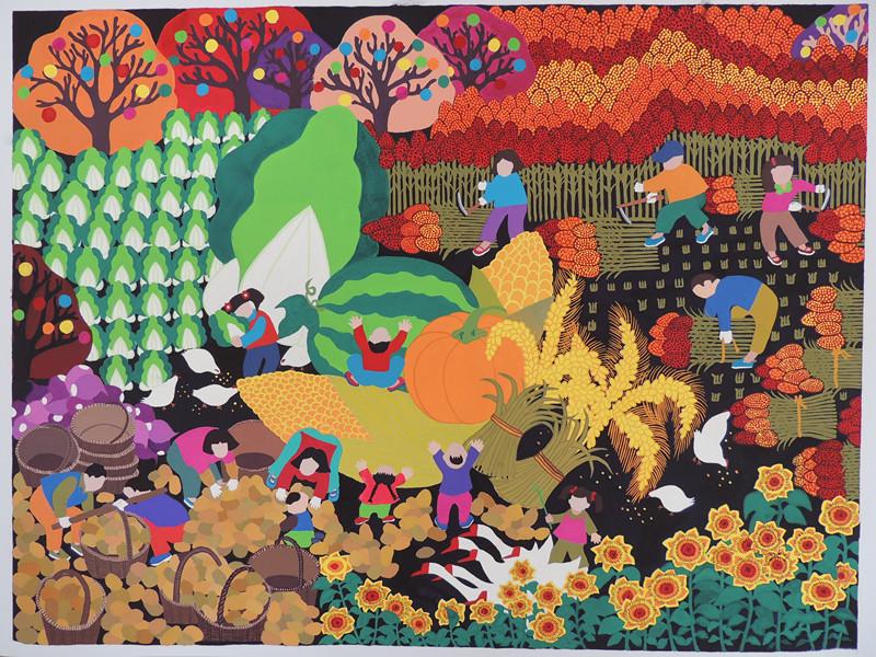 农民画《丰收梦》  60cm*80cm    作品于2014年7月入选江西省农民画展