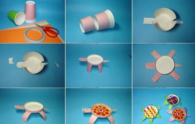 2,在杯底用不同材料(如:彩泥,彩纸或绘画)装扮龟壳.